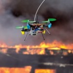 Drone filmt bosbrand