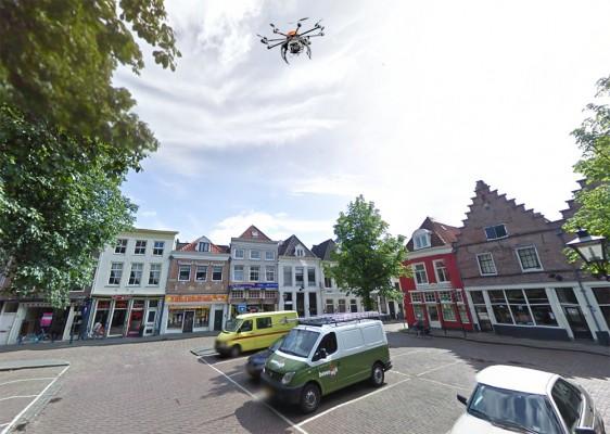 De Nieuwe Markt in Zwolle (bron: Google Streetview, UAV toegevoegd met Photoshop)