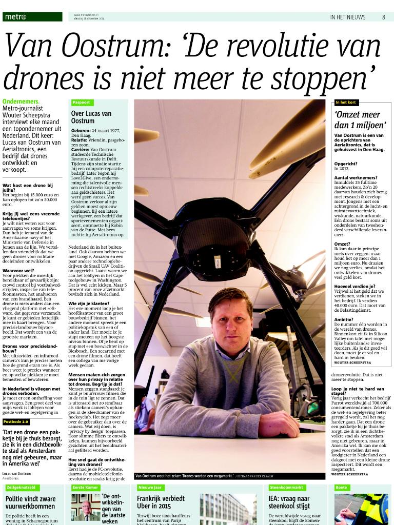 Artikel Metro over Aerialtronics