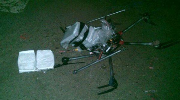 Een neergestorte drone, met een lading cocaine