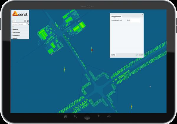 Een 3D hoogtemodel kaart, waar je de hoogte van objecten kan opvragen