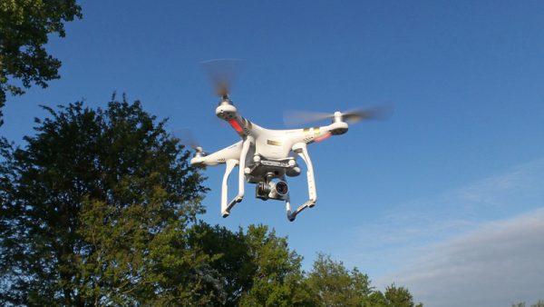 De drone die gebruikt werd voor het maken van de luchtopnamen