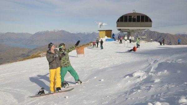 Wintersport dronie Nieuw Zeeland