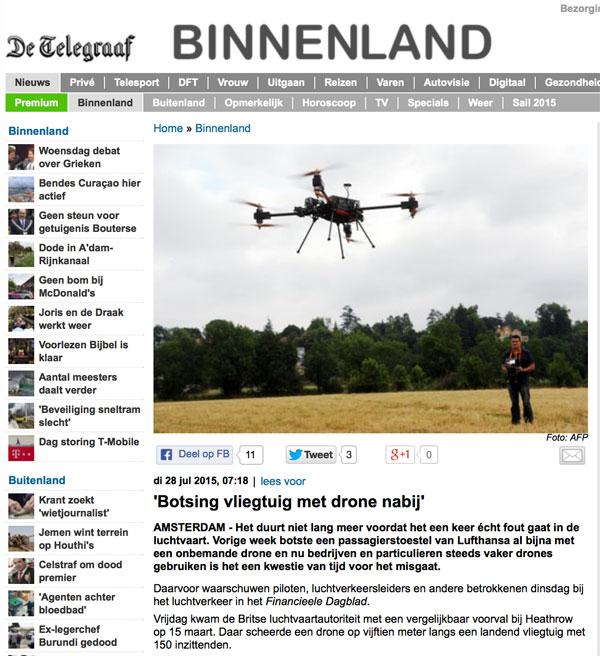 Telegraaf over gevaar botsing-drone met vliegtuig
