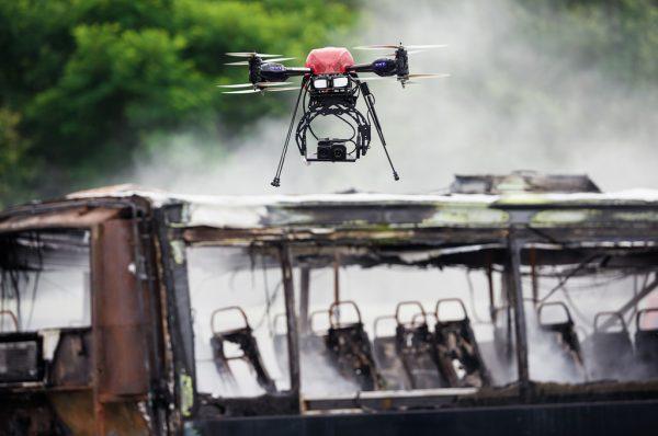 Een professionele drone in actie