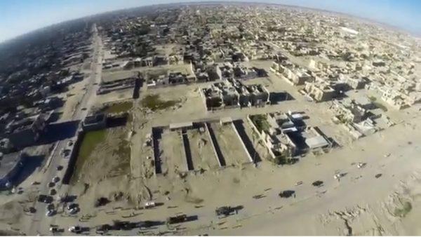 Luchtfoto van Fallujah, gemaakt door een Phantom FC40