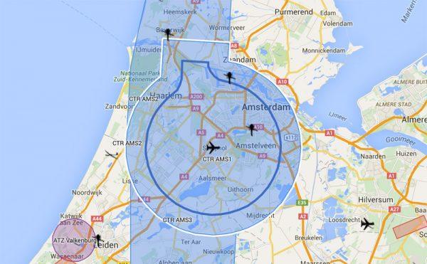 Drones mogen niet binnen het wit omlijnde gebied vliegen. Bron: vliegjedroneveilig.nl