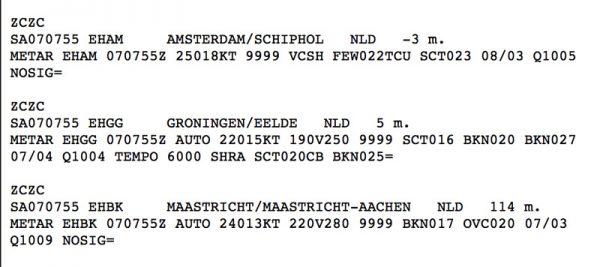 Weerberichten voor Schiphol, Eelde en Maastricht in gecodeerde vorm (METAR)