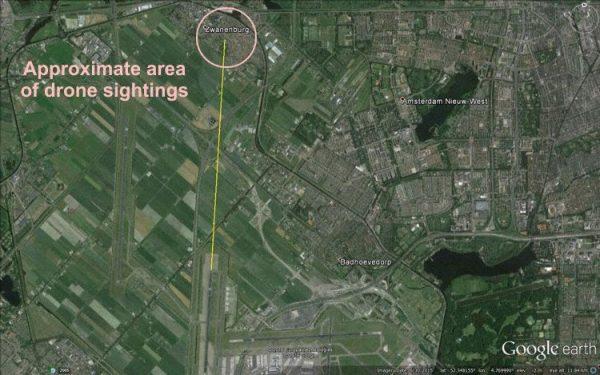 De vermoedelijke plek waar de drone(s) vlo(o)gen. Bron: The Aviation Herald