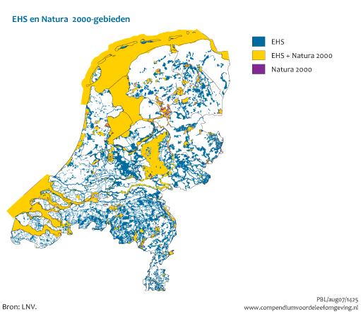 De ecologische hoofdstructuur (EHS) en de Natura 2000-gebieden