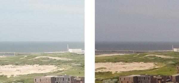 Op de foto van de Phantom 3 (rechts) is meer ruis te zien. Opklikken voor groot