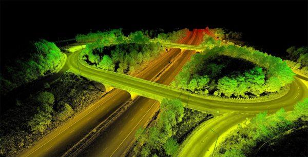 Een 3d model van een brug, gecreëerd met een lidar