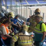 Hulpdiensten bereiden zich in PEC-stadion voor op aanslag met drone
